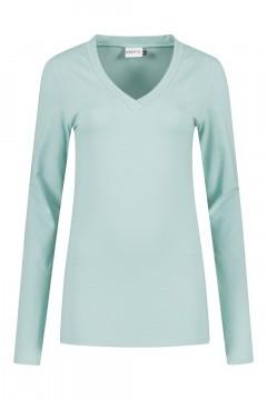 Highleytall - V-hals shirt lange mouw grijsblauw