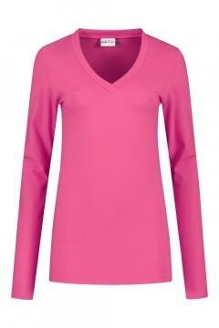 Highleytall - V-hals shirt lange mouw helderroze