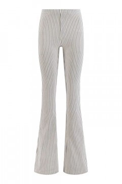 Madame Liz - Legging flared Streep linnen/grijsblauw