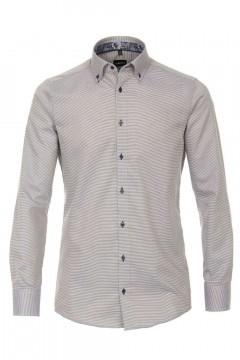 Venti Modern Fit Overhemd - Beige Structure