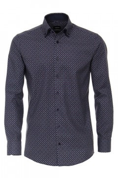 Venti Modern Fit Overhemd - Donkerblauw print
