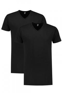 Alan Red T-Shirt - Vermont Zwart extra lang/2-pack