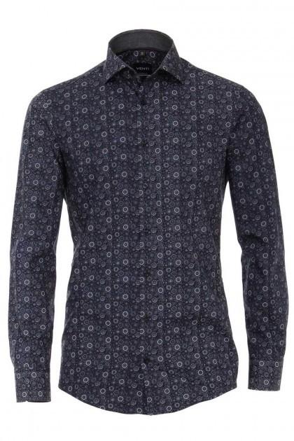 Venti Modern Fit Overhemd - Donkerblauw/wit print
