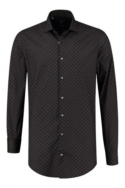 Corrino overhemd - Milano ruit zwart/bruin
