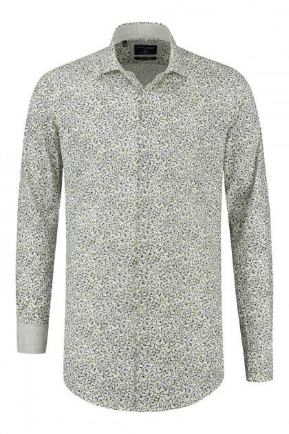 Corrino overhemd - Milano wit/multi