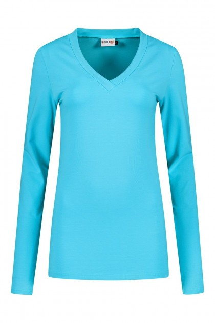 Highleytall - V-hals shirt lange mouw turquoise