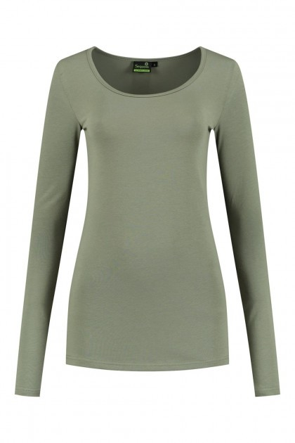 Sequoia - Basic top lange mouw khaki