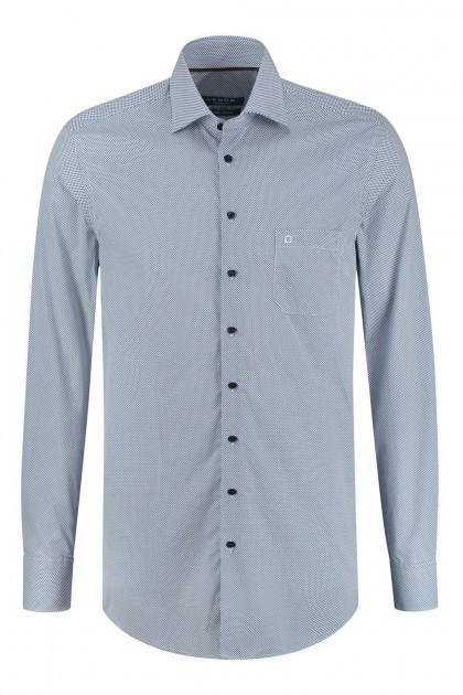 Ledûb Modern Fit Overhemd - Donkerblauw Gespikkeld
