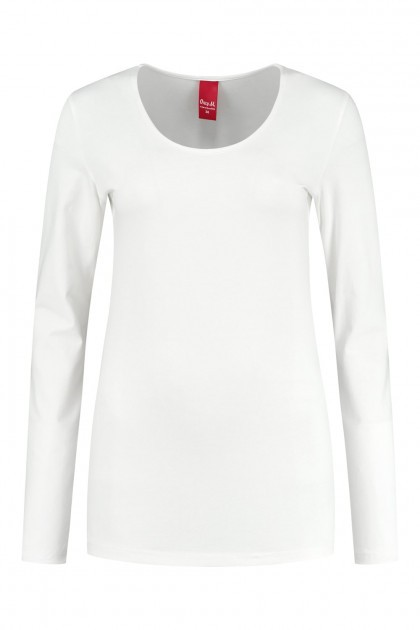 Only M - Basic ronde hals top offwhite