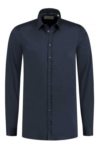 Blue Crane Slim Fit Overhemd - Donkerblauw
