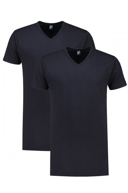 Alan Red T-Shirt - Vermont Navy extra lang/2-pack
