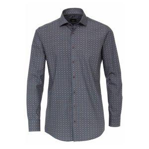 Venti Modern Fit Overhemd - Blauw/beige print