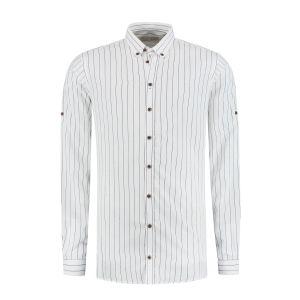Blue Crane Slim Fit Overhemd - Wit Gestreept