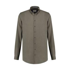 Blue Crane Slim Fit Overhemd - Linnen donkergroen