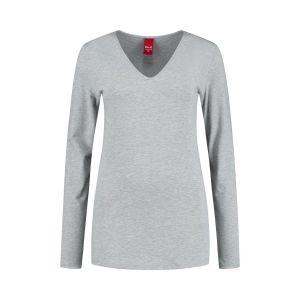 Only M - Basic V-hals top grijs gemeleerd