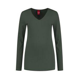 Only M - Basic V-hals top khaki