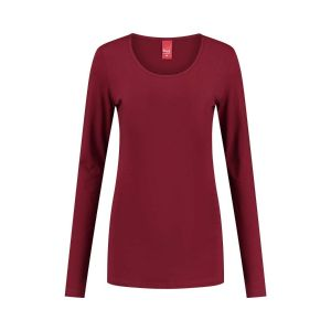 Only M - Basic ronde hals top donkerrood