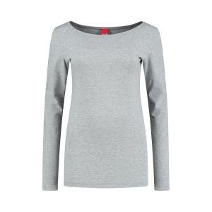 Only M - Basic boothals top grijs gemeleerd