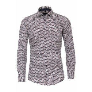 Venti Modern Fit Overhemd - Kent Rood/Navy Patroon