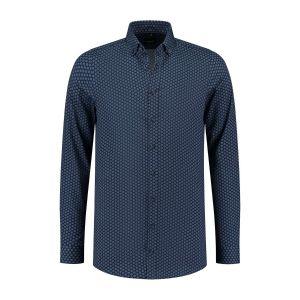 Venti Body Fit Overhemd - Donkerblauw Print